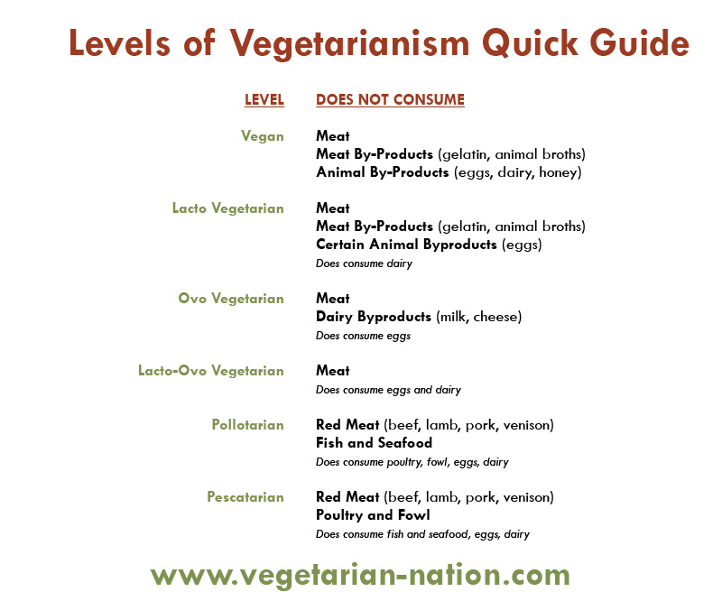 Chart - 7 Levels of Vegetarianism & Veganism