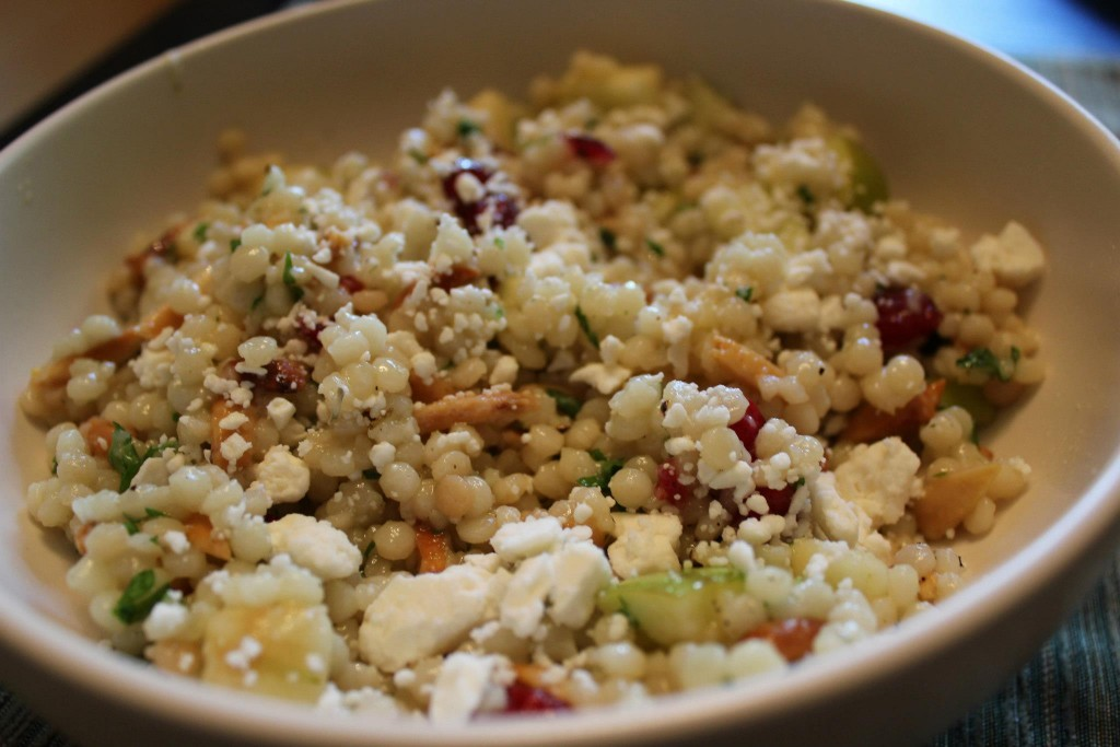Vegetarian Recipe - Israeli Couscous with Apples, Cranberries, Herbs & Feta Cheese